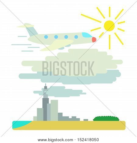 Plane flies over city concept. Flat illustration of plane flies over city vector concept for web