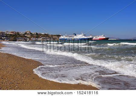 Ships In Artemis Harbor, Attica, Greece