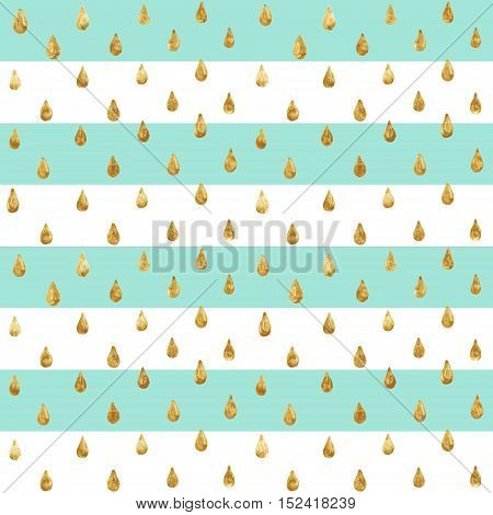 Gold glittering drops hand-drawn with golden paint. Seamless vector pattern on striped background. Shiny holidays background. Golden glitter pattern. Gold metal foil background.