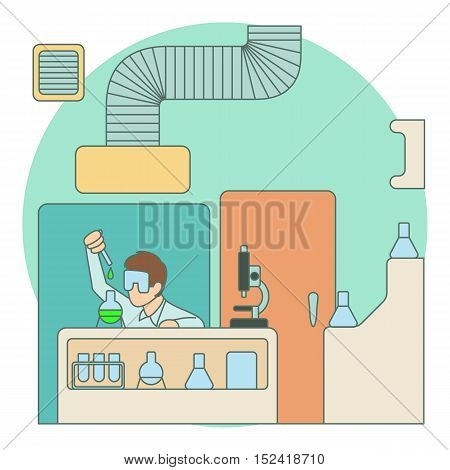 Chemist working in laboratory concept. Flat illustration of chemist working in laboratory vector concept for web