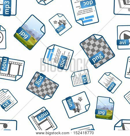 Bright blue file icons with extensions on white, seamless pattern