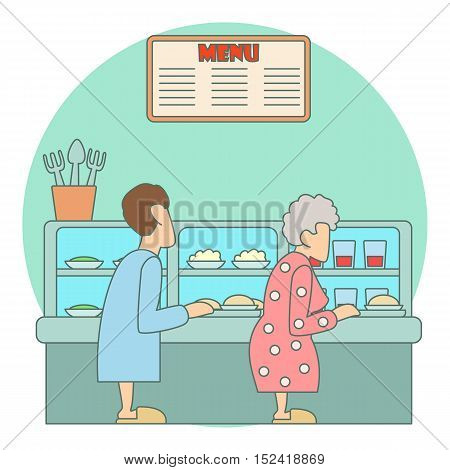 Queue in canteen for food concept. Flat illustration of queue in canteen for food vector concept for web