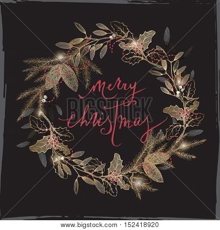 Vintage Christmas card with brush lettering, mistletoe and pine wreath on black background. Great for greeting cards and holiday design.