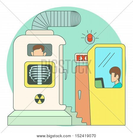 Photo x-rays of chest in hospital concept. Flat illustration of photo x-rays of chest in hospital vector concept for web
