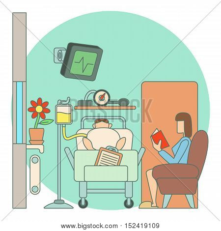 Sick man lies in hospital ward concept. Flat illustration of sick man lies in hospital ward vector concept for web