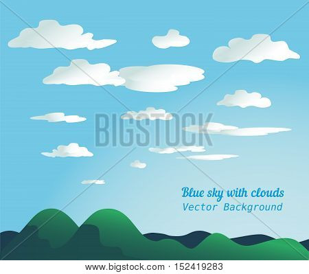 Cloudscape concept. Blue sky with fluffy clouds background. Cloudy daylight empty green mountain landscape in sunny weather. Organized layers. Easy text replace. Vector illustration