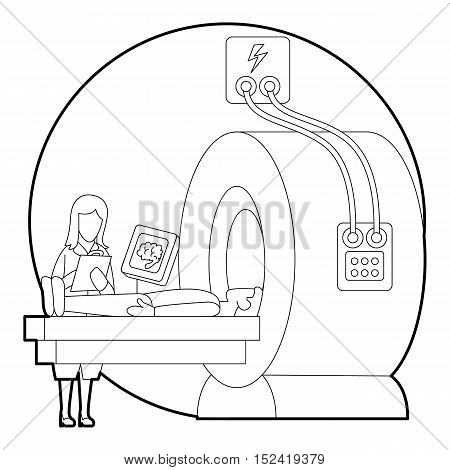Tomography of human brain in hospital concept. Outline illustration of tomography of human brain in hospital vector concept for web