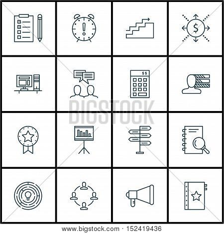 Set Of 16 Universal Editable Icons For  Topics. Includes Icons Such As Investment, Computer, Discuss