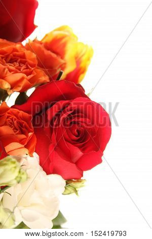 Close up of a spring bouquet of roses, tulips, lilies. Isolated