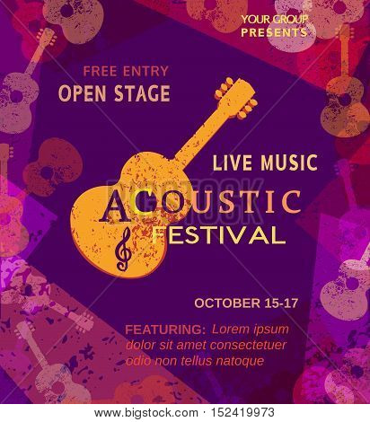 Template Design Poster with acoustic guitar silhouette. Live Music Festival concept. Idea for musical concert promotion banner in retro vintage style. Bright scratched background. Vector illustration.