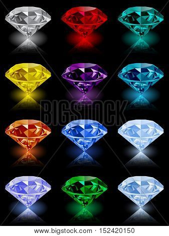 Set of shining jewels with reflections and glow isolated on black background. Jewel and jewelry. Colorful gems and gemstones. Diamond emerald ruby topaz sapphire garnet grandidier tourmaline