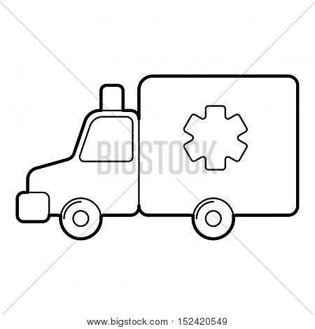 Ambulance icon. Outline illustration of ambulance vector icon for web isolated on white background