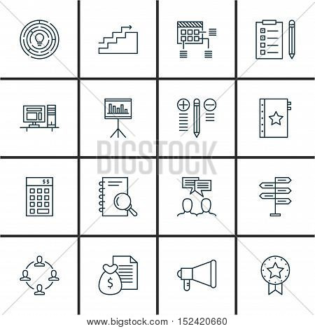 Set Of Project Management Icons On Present Badge, Reminder And Investment Topics. Editable Vector Il