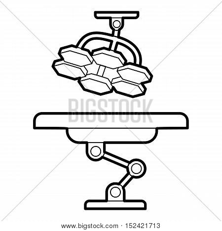 Operating table and lamp icon. Outline illustration of operating table and lamp vector icon for web