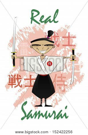 Vector illustration of standing fun cartoon with swords on abstract background with Japanese hieroglyphs signifying warrior, samurai and thunder. Can be use as t shirt print. Vector