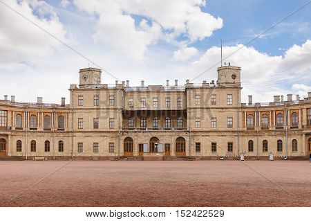 GATCHINA SAINT PETERSBURG RUSSIA - OCTOBER 16 2016: The Great Gatchina Palace. The Gatchina Palace was one of the favourite residences of the Imperial family.