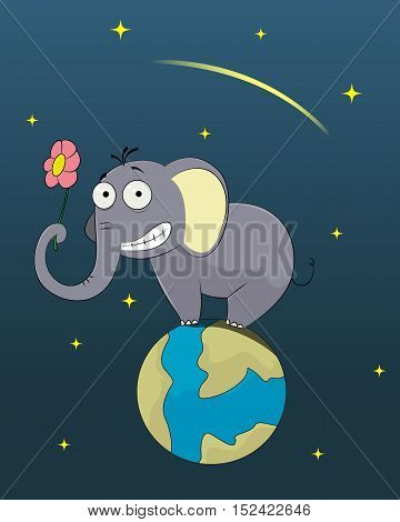 Funny elephant standing on the planet Earth and holds flower. Travel concept. Vector