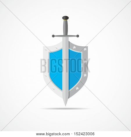 Shield and sword in flat design. Blue shield and sword icon isolated. Vector illustration.
