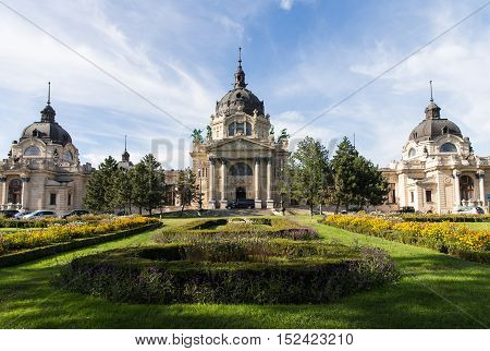Szechenyi Medicinal Bath in Budapest. Medicinal bath Budapest Hungary. Artesian spa Hungary. The bath, located in the City Park, was built in Neo-baroque style to the design of Gyozo Czigler.