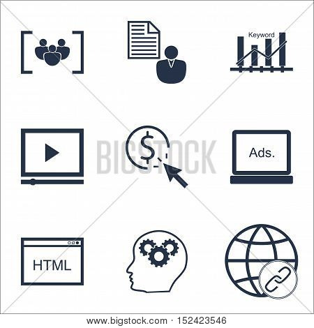 Set Of Seo Icons On Questionnaire, Report And Keyword Optimisation Topics. Editable Vector Illustrat