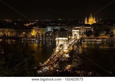 Szechenyi Bridge in Budapest Hungary. Beautiful bridge over the Danube. Best bridge in Budapest. poster