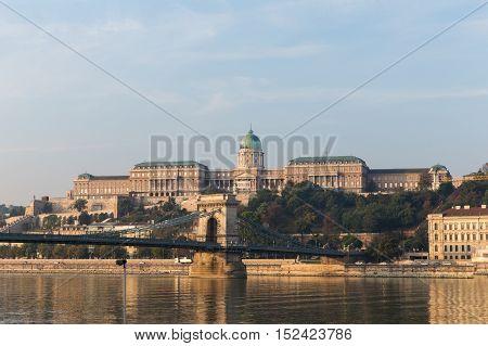 Danube river - panorama. Danube in Budapest Hungary. View of the Danube in Budapest.