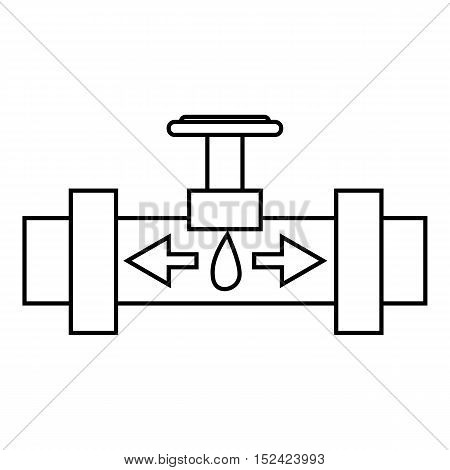 Pipe with valves icon. Outline illustration of pipe with valves vector icon for web