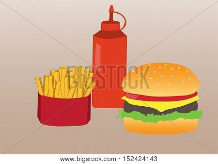 Simple illustration of french fries, burger and ketchup. Flat design. Vector poster of fast food