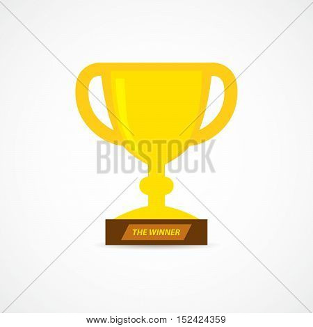 Gold trophy cup in flat design. Cup icon isolated on white background. Vector illustration.