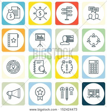 Set Of Project Management Icons On Collaboration, Time Management And Money Topics. Editable Vector