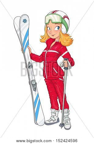 Beautiful girl in helmet with mountain ski. Extreme Sport. Winter hobbie. Sporting woman. Vector illustration. Isolated white background