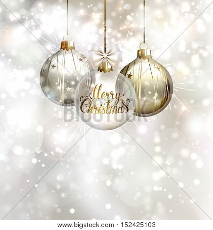 Christmas three evening balls. Merry Christmas gold lettering on the glass evening ball. Shining glimmered background.