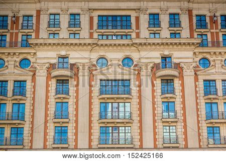Fasade of the old house in Moscow Russia