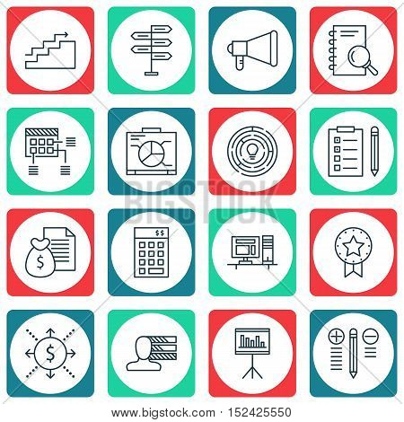Set Of Project Management Icons On Innovation, Decision Making And Money Topics. Editable Vector Ill
