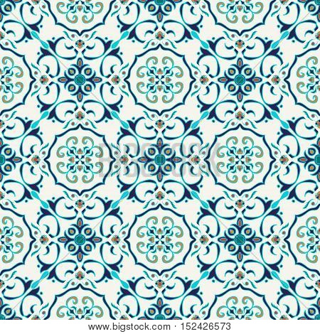 Vector seamless texture. Beautiful colored pattern for design and fashion with decorative elements. Portuguese blue  tiles Azulejo Moroccan ornaments