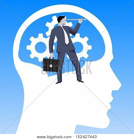 Leadership business concept. Confident businessman in business suit with case and looking glass inside human brain filled with spinning gears in search for direction. Vector illustration.
