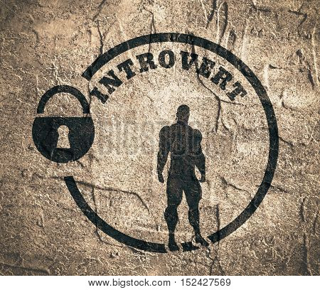 introvert simple icon metaphor. image relative to human psychology. muscular man in the locked circle. Concrete wall textured