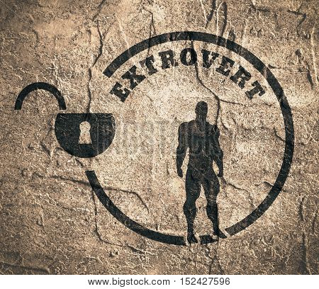 extrovert simple icon metaphor. image relative to human psychology. muscular man in the locked circle. Concrete wall textured