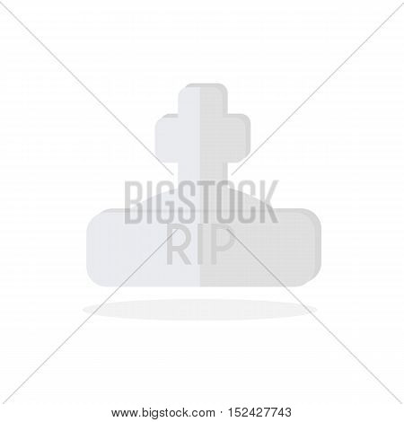 Grave on flat design vector, Gravestone Icon