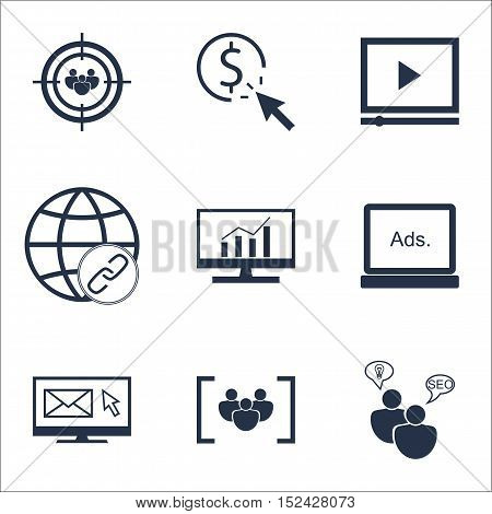 Set Of Advertising Icons On Ppc, Seo Brainstorm And Questionnaire Topics. Editable Vector Illustrati