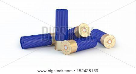 3d composition of  five blue shooting ammunition