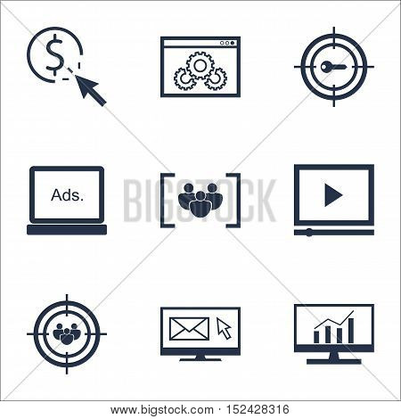 Set Of Advertising Icons On Questionnaire, Digital Media And Keyword Marketing Topics. Editable Vect