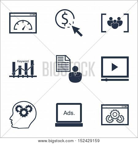 Set Of Advertising Icons On Digital Media, Video Player And Ppc Topics. Editable Vector Illustration