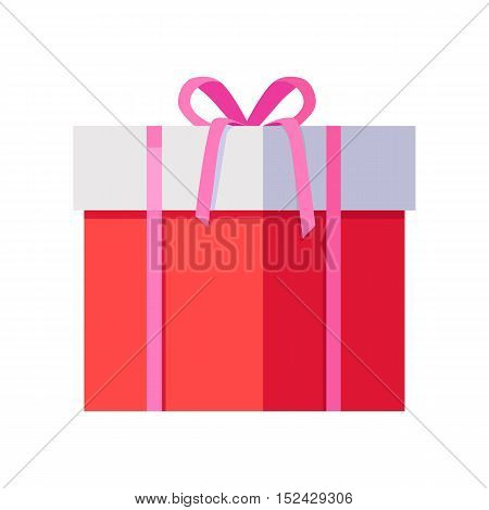 Single red gift box with pink ribbon in flat design. Beautiful present box with overwhelming bow. Gift box icon. Gift symbol. Christmas gift box. Isolated vector illustration