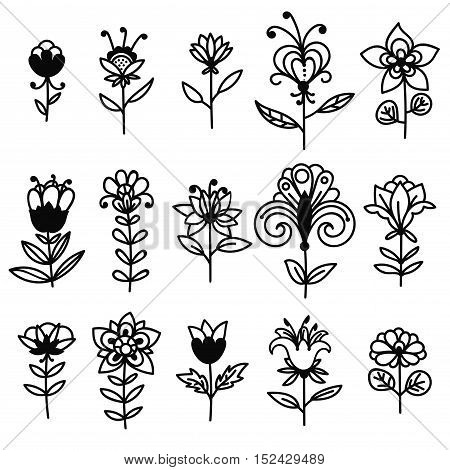 Set of black thin line hand drawn doodle fantasy flowers isolated on white background. Floral collection of elements, icons. Vector illustration.