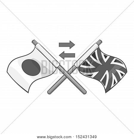 Flag of United Kingdom and Japan icon. Gray monochrome illustration of flag of United Kingdom and Japan vector icon for web