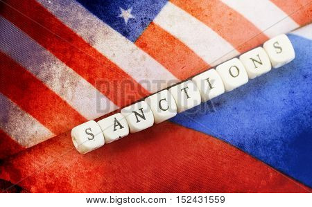 effect with scratches on photo russian usa flag sanctions