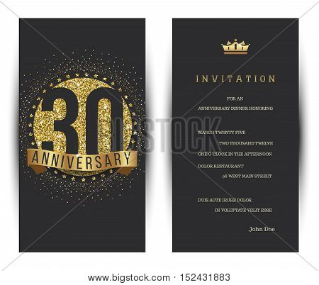 30th anniversary decorated invitation card template. Vector illustration.