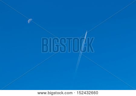 Plane In A Clear Sky, Reversing The Track From Him And Half Moon