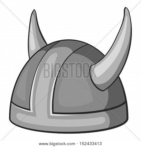 Metal combat helmet icon. Gray monochrome illustration of metal combat helmet vector icon for web